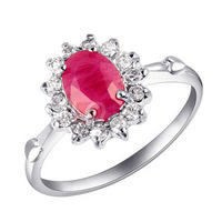 LQ Fine Jewelry Original Natural Ruby Stone Gem Ring for Women Sterling 925 Silver Ring with 18k White Gold Overlay