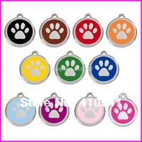 HOT Selling Freeing Shipping 20MM*20MM 300pcs/lot Glitter Dog Paw Shape Dog Pet ID Zinc Alloy Dog tags Pet Tags.Hang Pet Tags