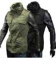 Men Leather Sleeve Jacket Slim Fit Cool Jackets For Men Black Army Green Color