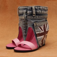 Within Europe stand 2013 summer wedges shoes leather rivets increased denim sandals stitching color cool short boots