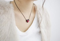 Promotions Fashion Jewelry Red Heart Pendant Stort Necklace Min. order $10 Free shipping HeHuanXL291