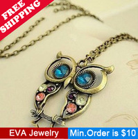 Min.Order is $10.5 Fashion vintage three-color N32607 cutout carved owl necklace mix