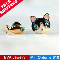 Min.Order is $10.5 A18905  kitten dollarfish blue Full Rhinestone stud earring 2013 Women mix
