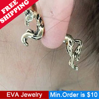 Min.Order is $10.5 A10605 fashion punk vintage unicorn horse piercing stud earrings mix