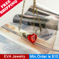Min.Order is $10.5 N07207 fashion  vintage red crystal heart pendant necklace mix