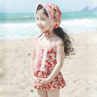 Child Swimming Suit Girl swimwear Baby Beach Swimming Trunks w/swimming cap Free Shipping
