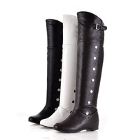 Free shipping new fashion knee boots within the higher round rivet belt buckle casual boots.612