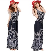 2014 Summer New Casual Fashion Women Dress Long Skirt Sexy Black and White Vine Paisley Leaves Floral Print Plus Large Big Size