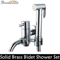 Free Shipping Solid Brass Chrome Handheld Bidet ,Toilet Portable Bidet Shower Set With Brass Bidet Faucet and 1.5m Hose-22650