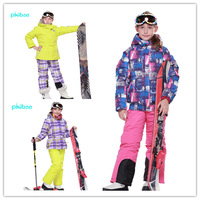 PHIBEE kid's winter hiking camping hunting outdoor jacket and pants suit skiing snowboarding ski suit FREE SHIPPING