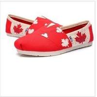 Canvas shoes Korean stars a magic buckle flag a happy JM Marie shoes a lady shoes-red
