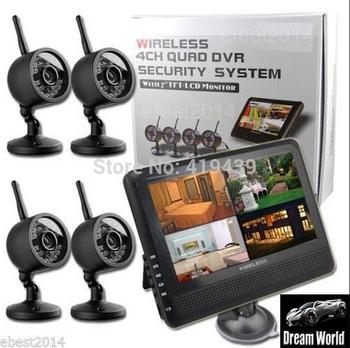 "7"" TFT LCD Monitor 4CH Quad DVR Security System+4x Digital 2.4G Wireless Cameras"