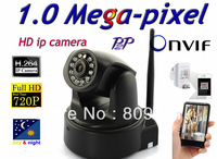 ONVIF 1.0 mega pixels HD Plug&Play wifi wireless ip network camera H.264 with IR-cut SD card slot Apple Android Windows system