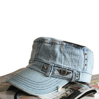 Retro Jean Military Hat Vintage Cowboy Flat Top Cotton Cap Men's or Women's Distressed Denim Cadet Cap S181