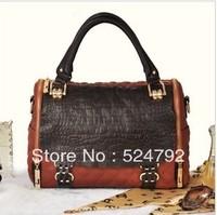 Free Shipping 2013 High quality Genuine cow leather totes Croco modern design women messenger bag handbags