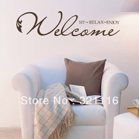 Wholesale Free Shipping Home Decor Wall Stickers Welcome Quote Decals-Welcome Sit Relax Enjoy(39.4 x 9.4in/set)