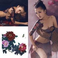 2014 Sale Freeshipping Tatuagem Henna Sex Products Hot Sales Tattoo Stickers Waterproof Female Big Flower Disposable Fashion
