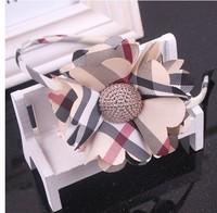 Free shipping wholesale 2013 newest British style plaid big sun flower hair bands for kids wide headband women girls headwear