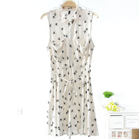 Free shipping!/2013 New Summer women girl Swallow printing Double pocket Sleeveless dress