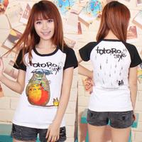 2014 short sleeve totoro Japanese cartoon casual all-match 100% cotton girl T-shirt