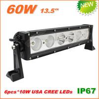 Free Shipping New 60W CREE LED Work Light  Bar 12V 24V IP67 Flood Spot beam For 4WD 4x4 Off road Light Bars TRUCK BOAT TRAIN BUS