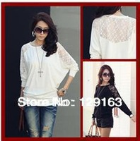 Free Shipping 2013 Autumn Women New Fashion White Black Long Batwing Sleeve Lace Knitted Loose T Shirt Dress Tops Blouses 48