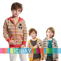 Free Shipping Casual Coats Kids Spring Jackets Boys Hooded Hoodies Striped  K1591