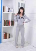 Free Size Cotton Blend Lady Casual Wear Sweats Hoodie Zip Jacket String Pants Sweat Suit Set Tracksuit