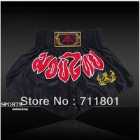 Quality letter muay thai shorts embroidery satin boxing pants shorts free combat pants