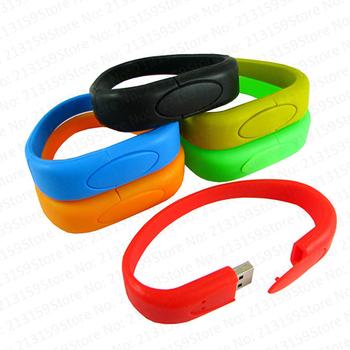 Retail silicone wrist band Bracelet USB Flash Drives thumb pen drives memory stick disk gift 2GB 4GB 8GB 16GB 32GB Free shipping