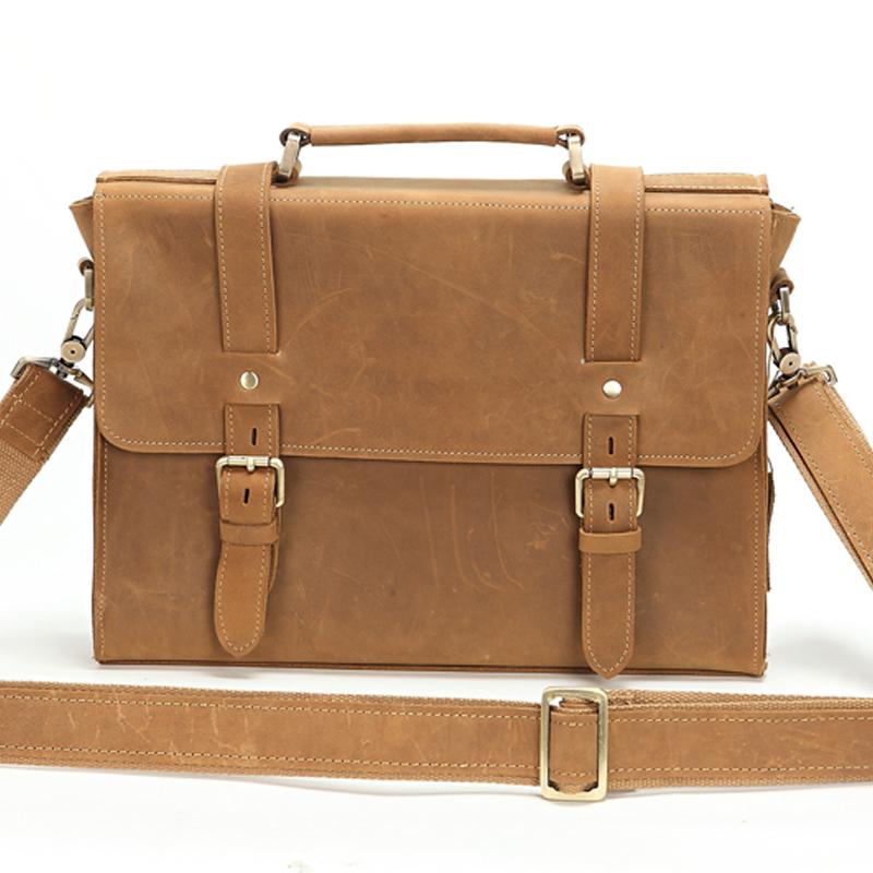 Garantito 100% vera borse in pelle uomini cavallo pazzo pelle degli uomini valigetta del computer portatile borsa messenger bag borse nuovo 2014 degli uomini