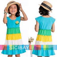 Summer Beach rainbow Suspender design baby girls dress kids Bohemian fashion child sleeveless clothes girl dresses K1607