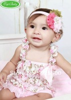 Free Shipping ( 6pieces/lot) Baby Lace Romper Infant Solid Color Posh Petti Lace Romper With Straps & Ribon Bow Baby Clothes T49