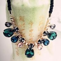 Hot Sale Fashion Gold Chain Neon Multicolor Acrylic And Rhinestone Pendants Choker Necklaces For Women