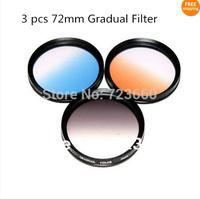 72mm 72 mm Gradual grey blue orange Color Special Effect Lens Filter Screw Mount For Canon Nikon Sony Samsung Fuji Pentax Camera
