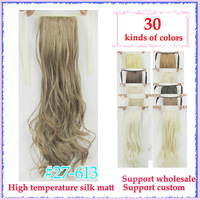 "Wholesale/22"" (55cm) 90g  wave ribbon ponytail High temperature silk matte synthetic Free Shipping mixed color  #27/613"