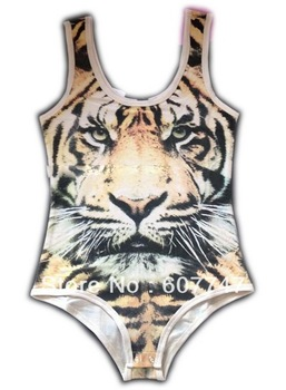 Siamese tight stretch tiger pattern design tank top Tigers vest bodysuits swim suits ...