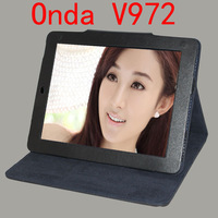 "1pcs Free ship original 9.7"" onda v972 leather case PU folding folio case with stand for v972 quad core tablet pc"