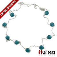 Free Shipping Min Mix Order $10 New Arrival Vintage Women Blue Enameling Beads Statement Long Chain Necklace Jewelry