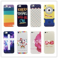 18 styles! high quality colored cover For Iphone 4 4s 5 5s Despicable Me mobile case giraffe hard back shell skin 10pcs/lot