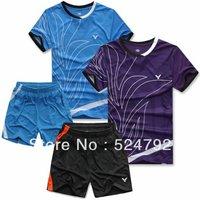 wholesale!free shipping 2013 Victory men's table tennis clothing/badminton set shirt +shorts 4 color