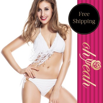 Design Bikini Swimwear Tassels Decorated Stylish Halter Neckr Fringe Bikini Set DY30516 Ohyeah