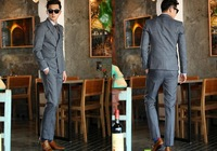 Male fashion set male slim double breasted suit set commercial suit cover