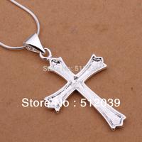 Korea's Popular Jewelry Silver Snake Chain 925 Silver Plated Bermuda Triangle Cross Necklace FREYA/N290