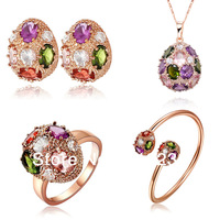 KS61 18K Rose Gold Plated Multicolor Crystal Waterdrop Bangle / Bracelet Pendant Necklace Earring Ring Items Women Jewelry Sets