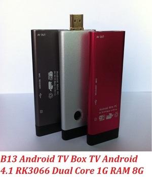 Hot Latest B13 RK3066 Dual Core Mini PC Cortex-A9 1.6Ghz Android TV Box Built-in Bluetooth MIC 2.0MP Camera 1GB 8GB AV Output