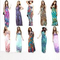 summer dress New 2014 Fashion Bohemia long Dress sexy Deep V Collar Beach Dress Milk Silk Print  Maxi Dress 12 color hot sale