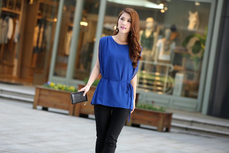 Vendas no atacado quentes de grandes camisa tamanho blusa senhoras deixar dois conjuntos de camisa chiffon T -shirt blusa menina Sweater(China (Mainland))
