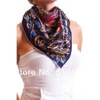 90x90cm  big size navy paisley twill silk scarfs women fasion accessories headband  free shipping