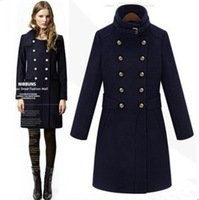 2013 Korean women's winter woolen coat sexy wool slim British style outerwear wholesale and retail lots in stock .